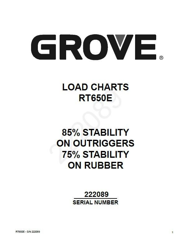 Download Grove RT600E Load Charts Operator's Service PDF