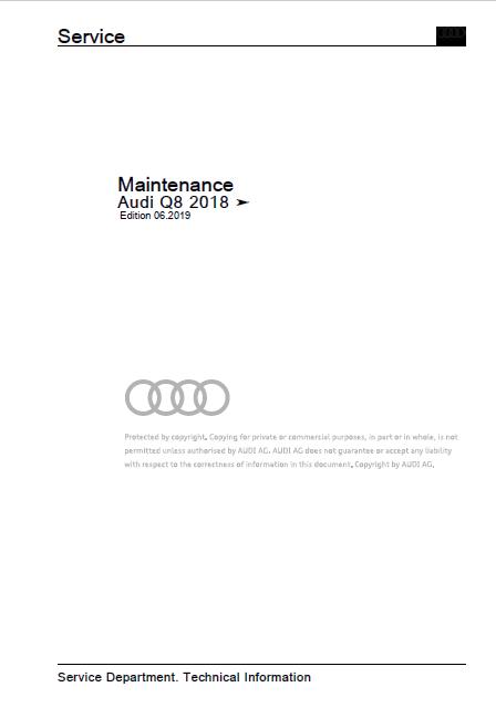 AUDI Q8 Factory Service Manual 2018-2020