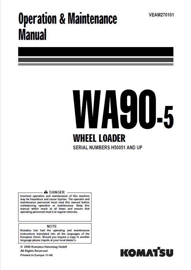 Komatsu Wheel Loader WA90-5 Manual Download