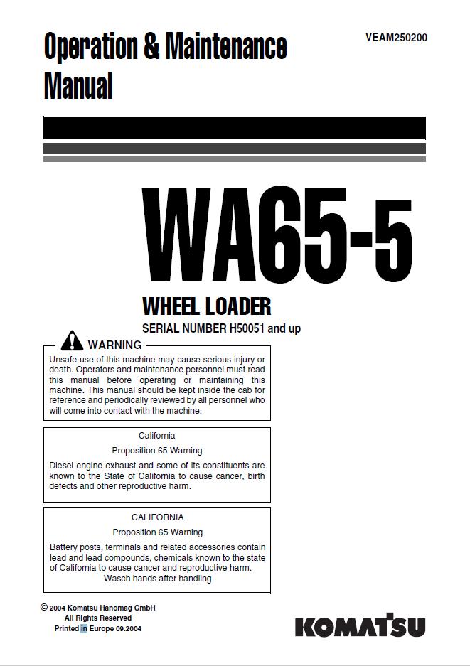 Komatsu Wheel Loader WA65-5 Manual Download