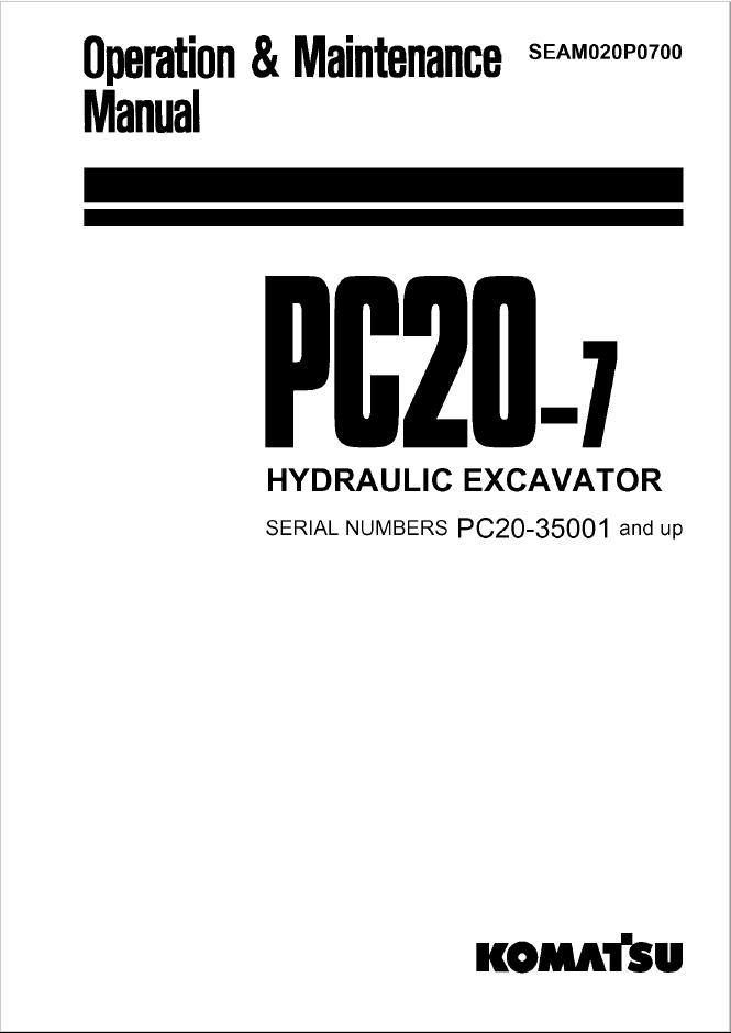 Komatsu Hydraulic Excavator PC20-7 Manual PDF