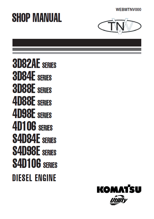 Komatsu Engine 3D82-88AE, 4D88/98/106E, S4D84/98/106