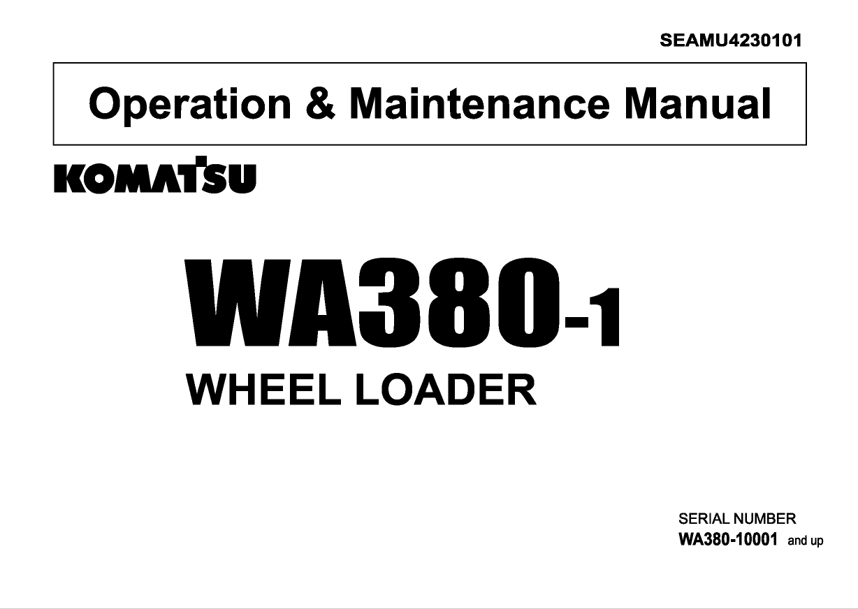 Komatsu Wheel Loader WA380-1 Manual Download