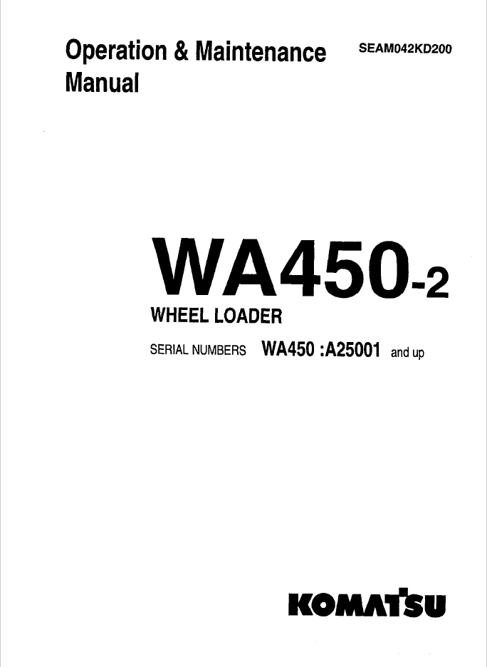 Komatsu WA450-2 Wheel Loader Manual PDF Download