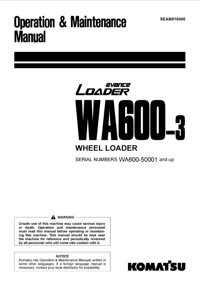 Komatsu WA600-3 Avance Loader Manual PDF Download