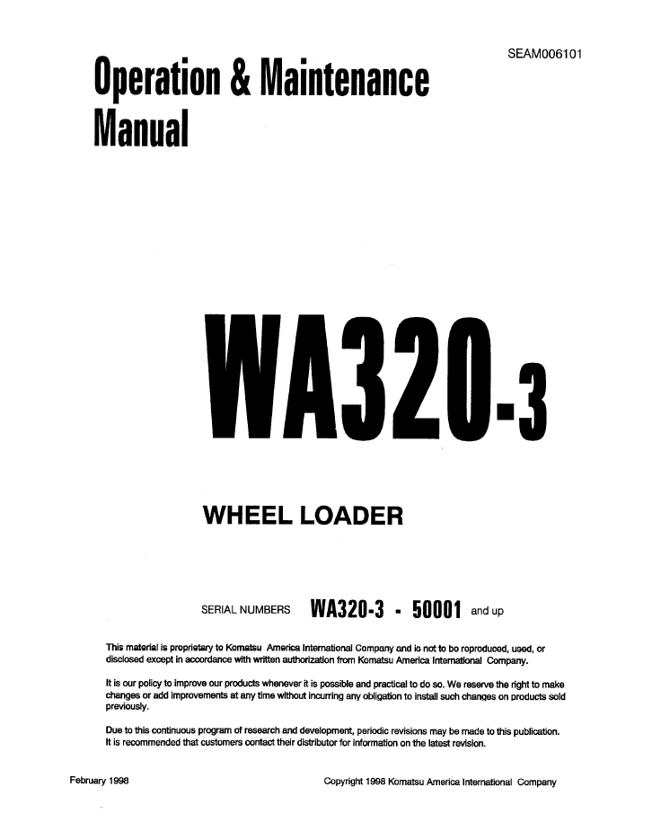 Komatsu WA320-3 Wheel Loaders Manual PDF Download