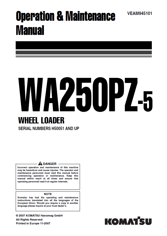Komatsu WA250PZ-5 Wheel Loader Manual PDF Download