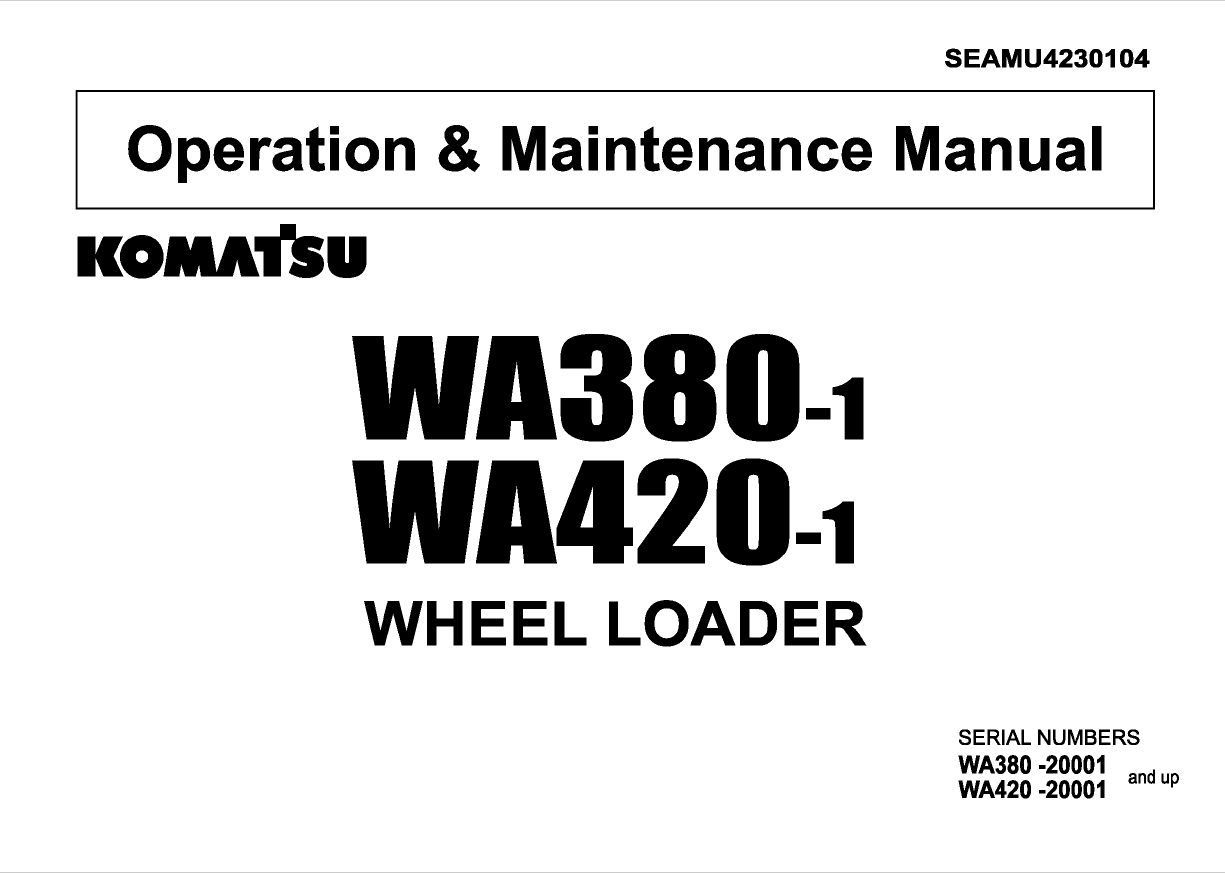 Komatsu Wheel Loader WA380-1, WA420-1 Manual Download
