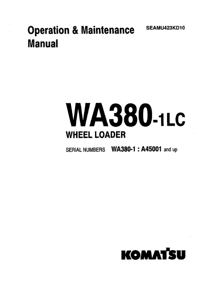 Komatsu Wheel Loader WA380-1LC Manual PDF Download