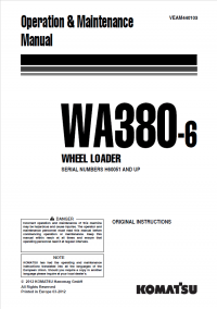 Komatsu Wheel Loader WA380-6 Manuals PDF Download
