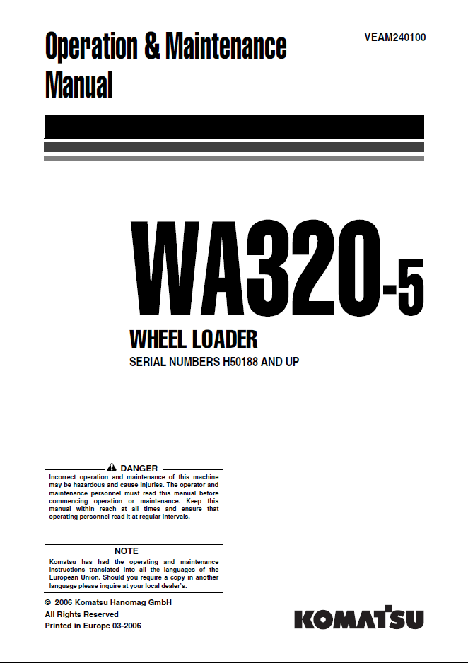 Komatsu Wheel Loader WA320-5 Manual PDF Download
