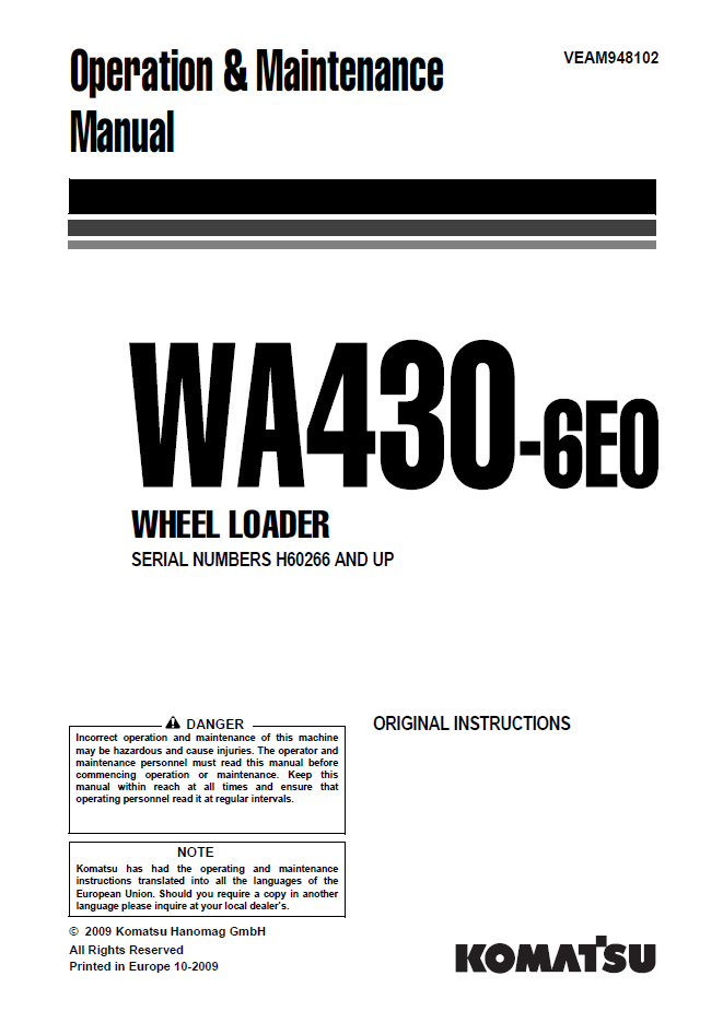 Komatsu Wheel Loader WA430-6EO Manual PDF Download