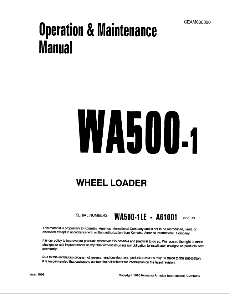 Komatsu Wheel Loader WA500-1 Manual PDF Download