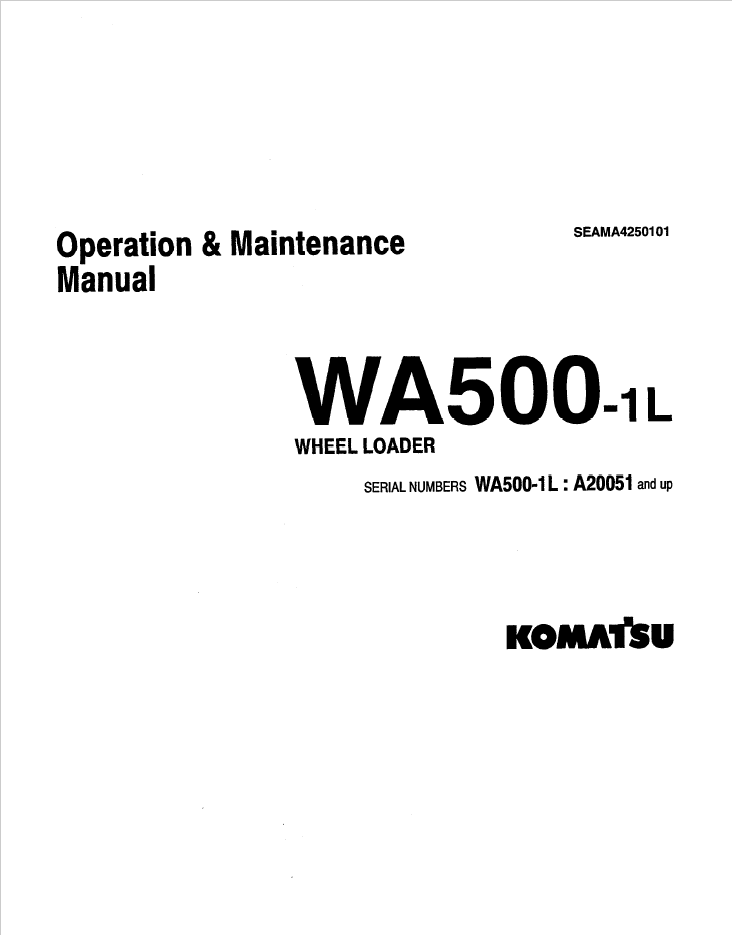 Komatsu Wheel Loader WA500-1L Set of Manuals Download