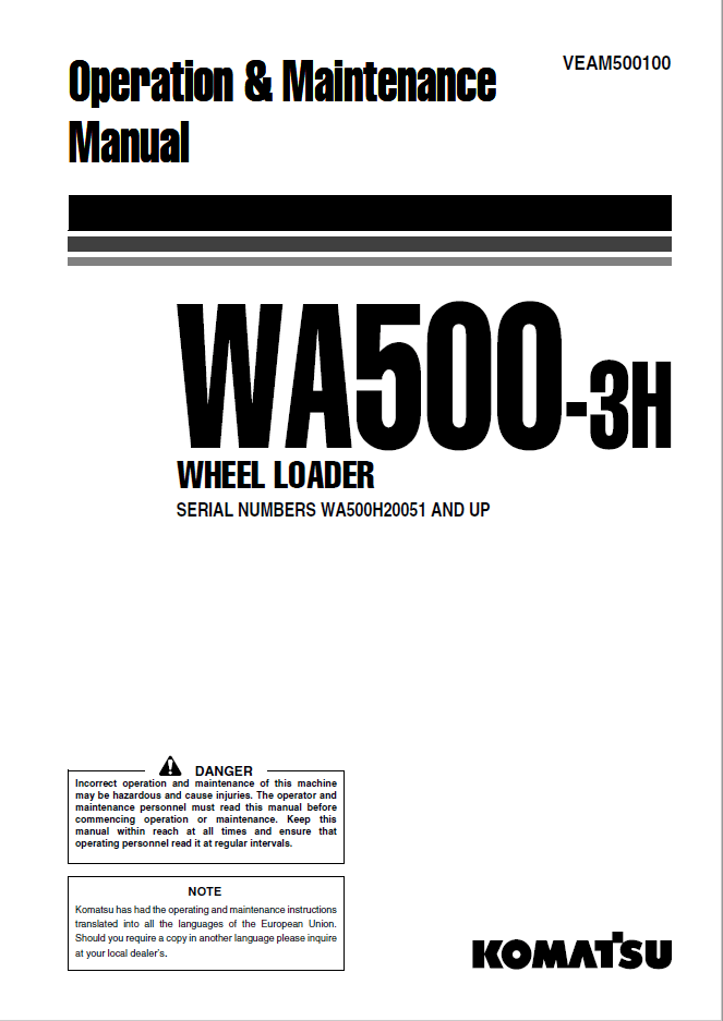 Komatsu Wheel Loader WA500-3H Manual PDF Download