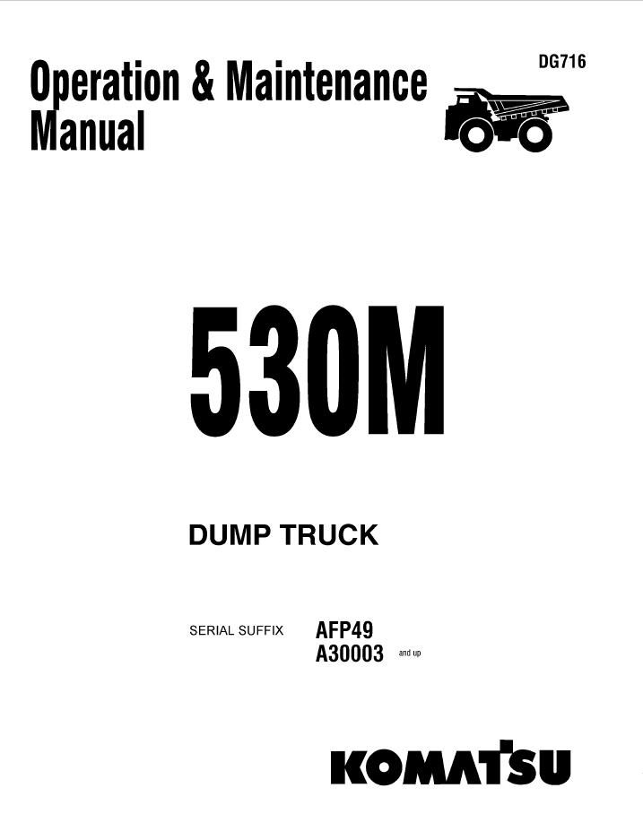 Komatsu Dump Truck 530M Manual PDF Download