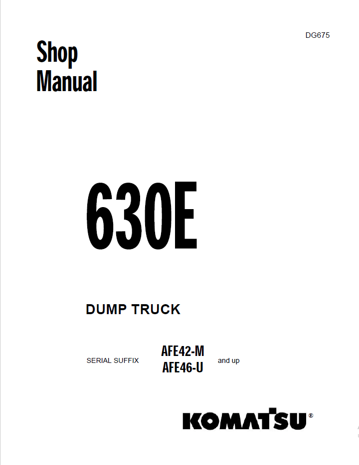 Komatsu Dump Truck 630E Shop Manual PDF Download