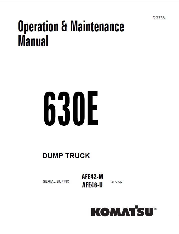 Komatsu Dump Truck 630E Manual Download PDF