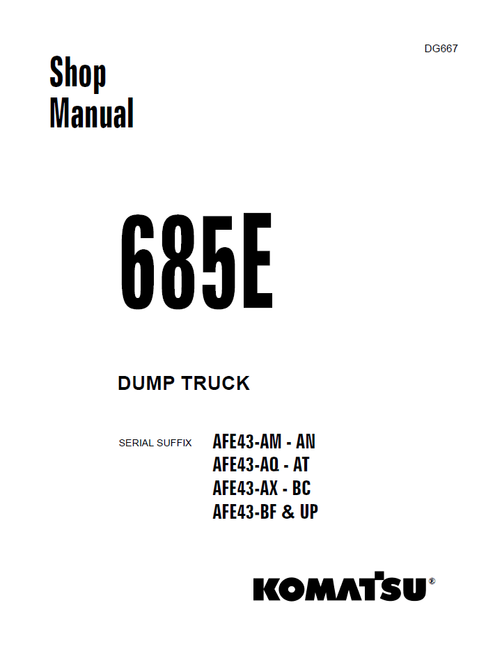 Komatsu Dump Truck 685E Shop Manual PDF Download