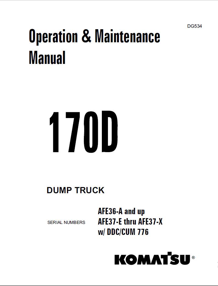 Komatsu Dump Truck 170D Manual PDF Download