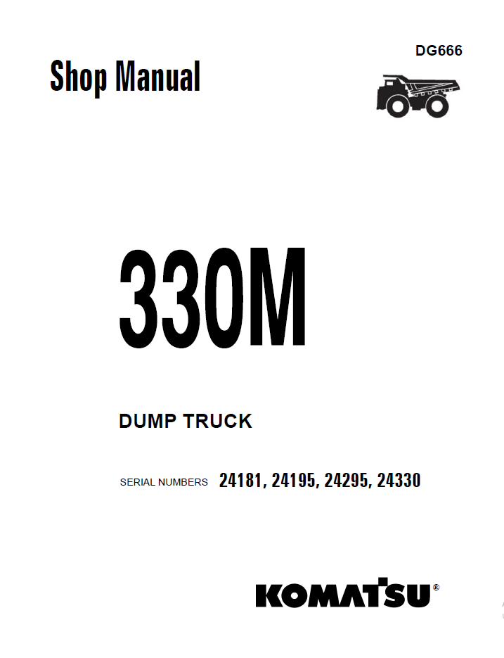 Komatsu Dump Truck 330M Set of Shop Manuals Download