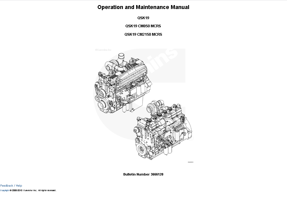 Cummins Engine QSK19 CM850/CM2150 MCRS Manual