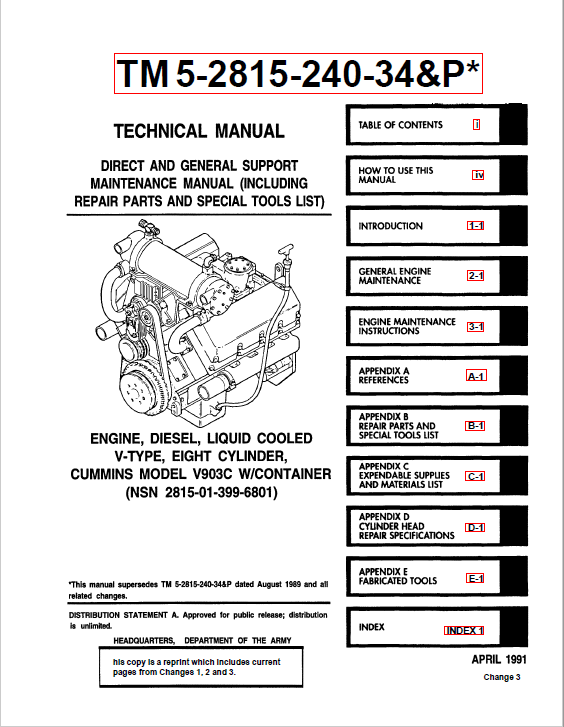 Cummins Engine V903C Technical Manual Download