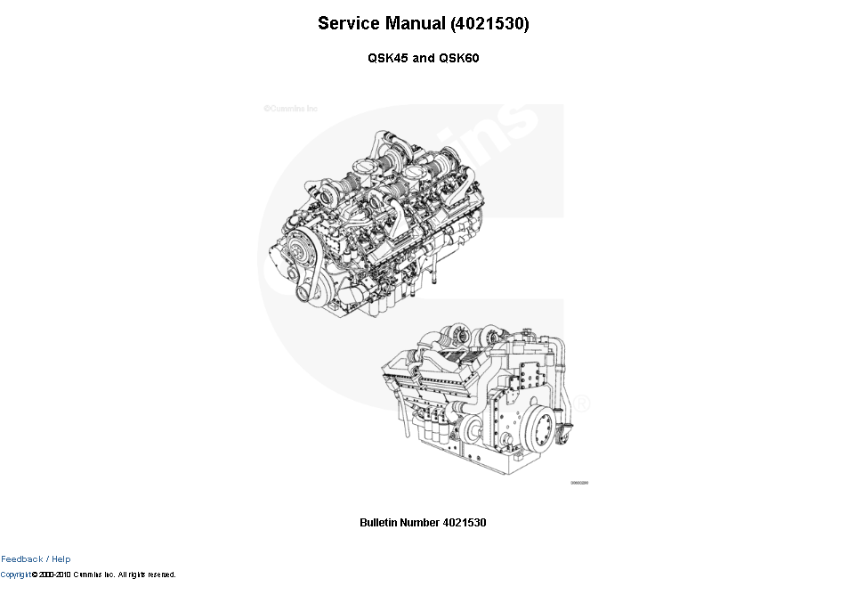 Cummins Engine QSK45, QSK60 Service Manual Download