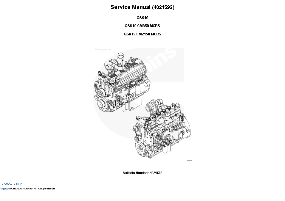 Cummins Engine QSK19 CM850/CM2150 MCRS Service Manual