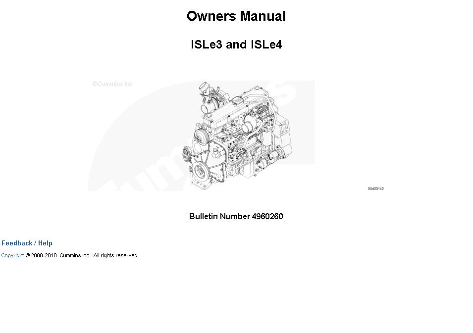 Cummins Engine ISLe3 and ISLe4 Owners Manual Download