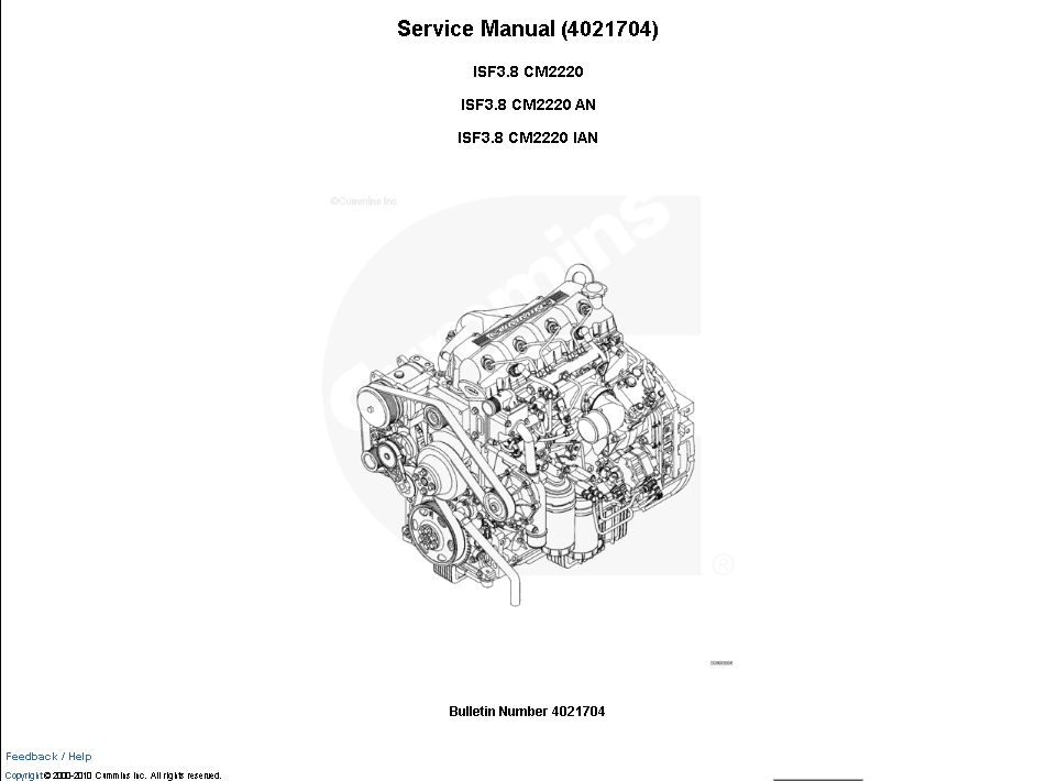 Cummins Engine ISF3.8 CM2220/AN/IAN Manual Download