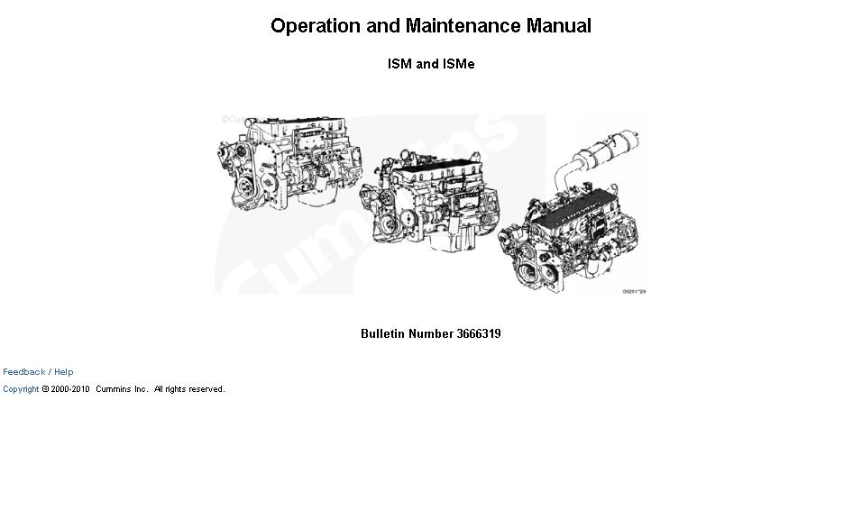 Cummins Engine ISM and ISMe Operators Manual Download