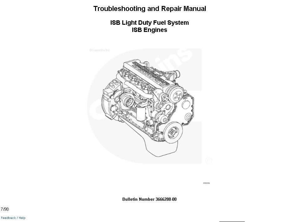 Cummins ISB Light Duty Fuel System ISB Engines Manual