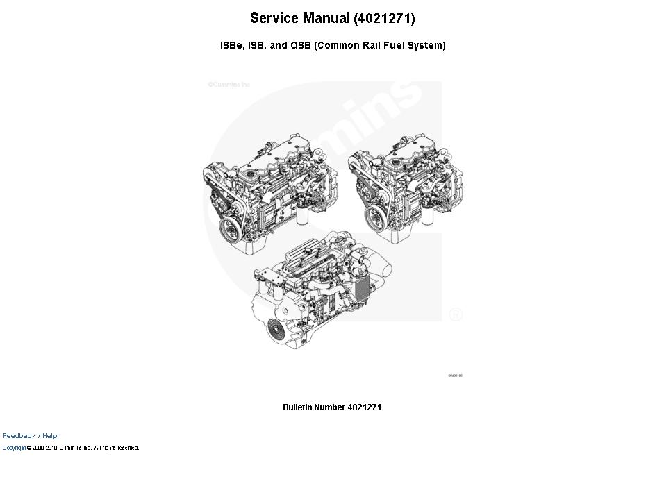 Cummins Engine ISBe, ISB, and QSB Service Manual