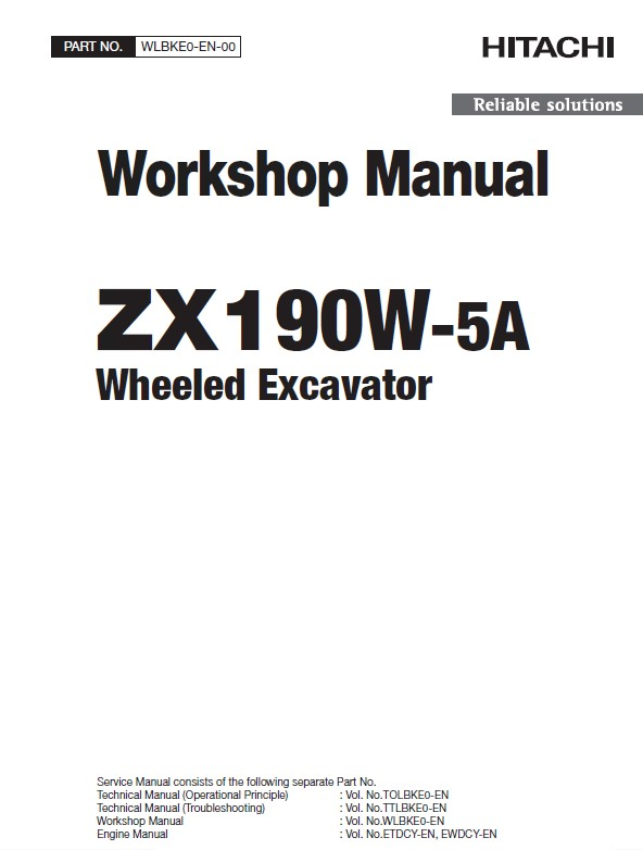 Hitachi Wheeled Excavator ZX190W-5A Workshop Manual