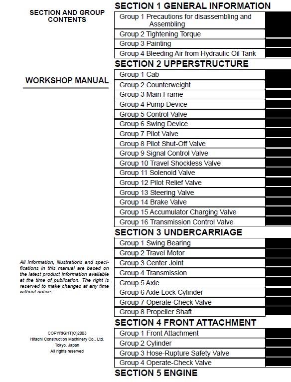 Hitachi Wheeled Excavator Zaxis 210W Workshop Manual pdf