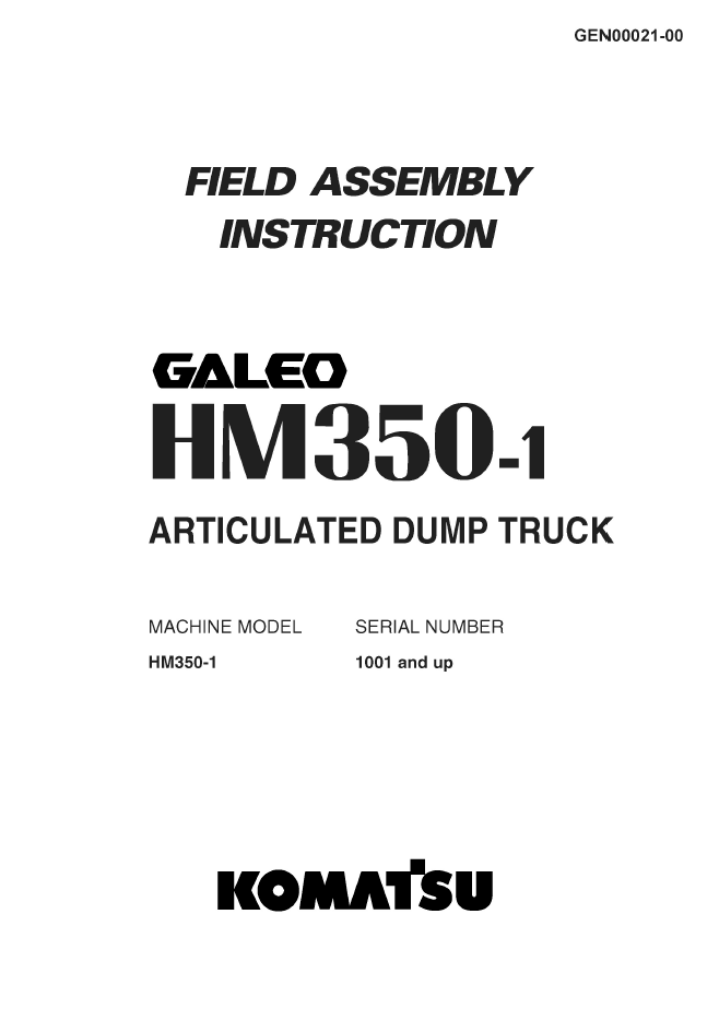 Komatsu Articulated Dump Truck HM350-1 Instruction PDF