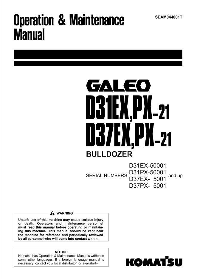 Komatsu D31EX, PX-21, D37EX, PX-21 Bulldozer Manuals