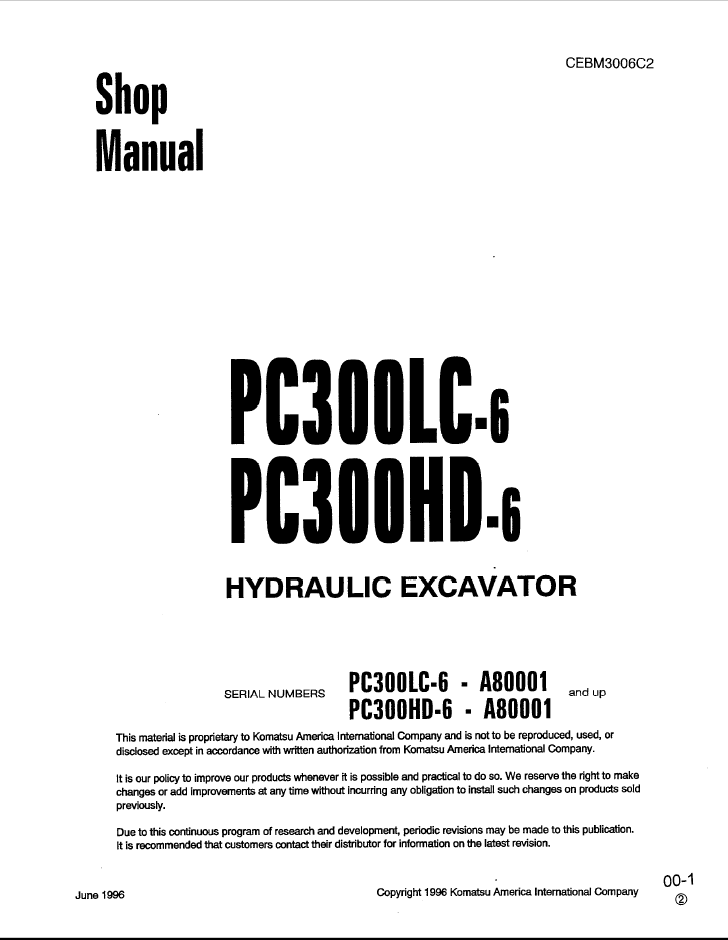 Komatsu Excavator PC300LC-6, PC300HD-6 Shop Manual