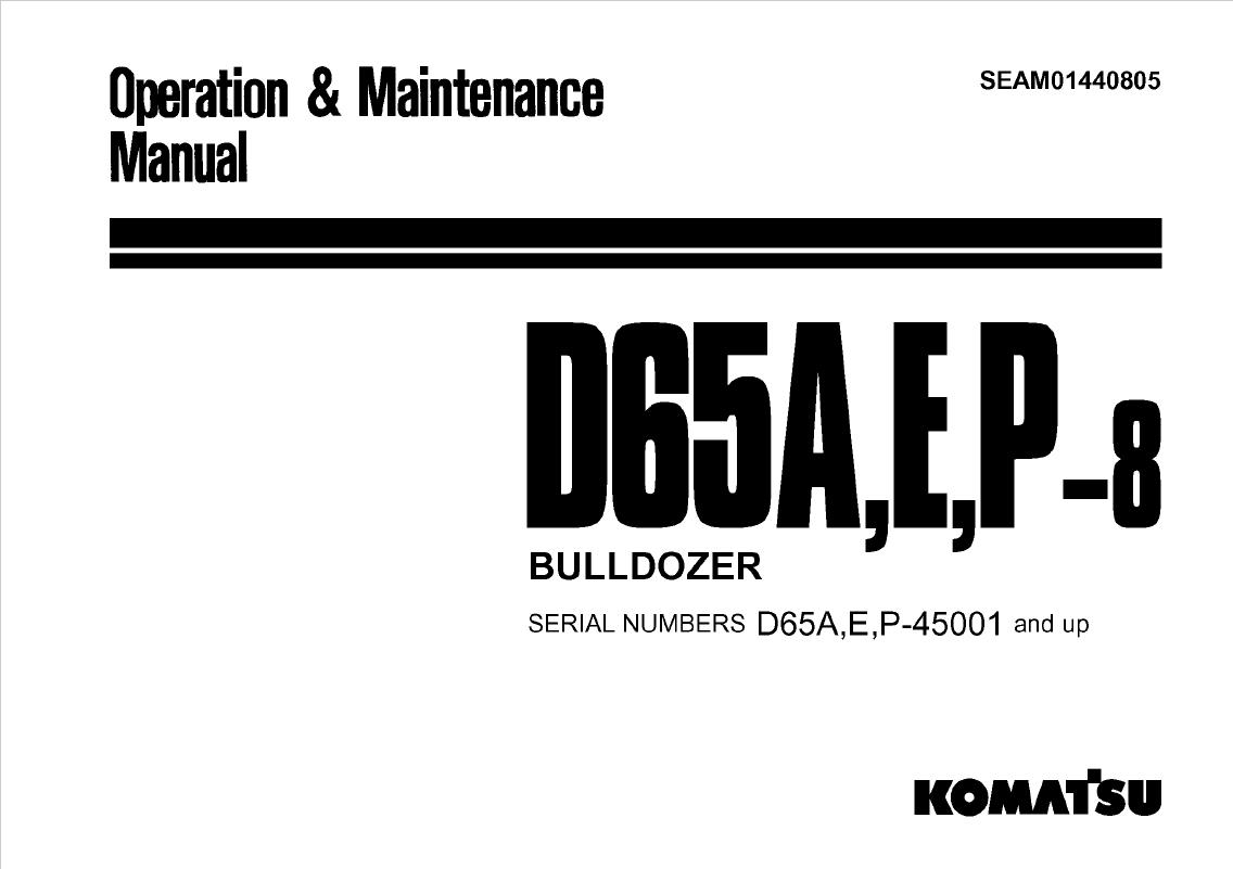 Komatsu Bulldozer D65A, E, P-8 Manual PDF Download