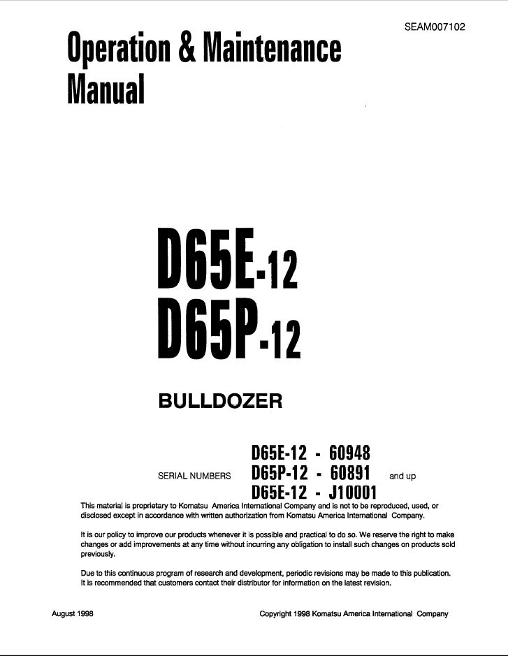 Komatsu D65e 12 D65p 12 D65ex 12 D65px 12 Bulldozer Service Repair Manual Operation Maintenance