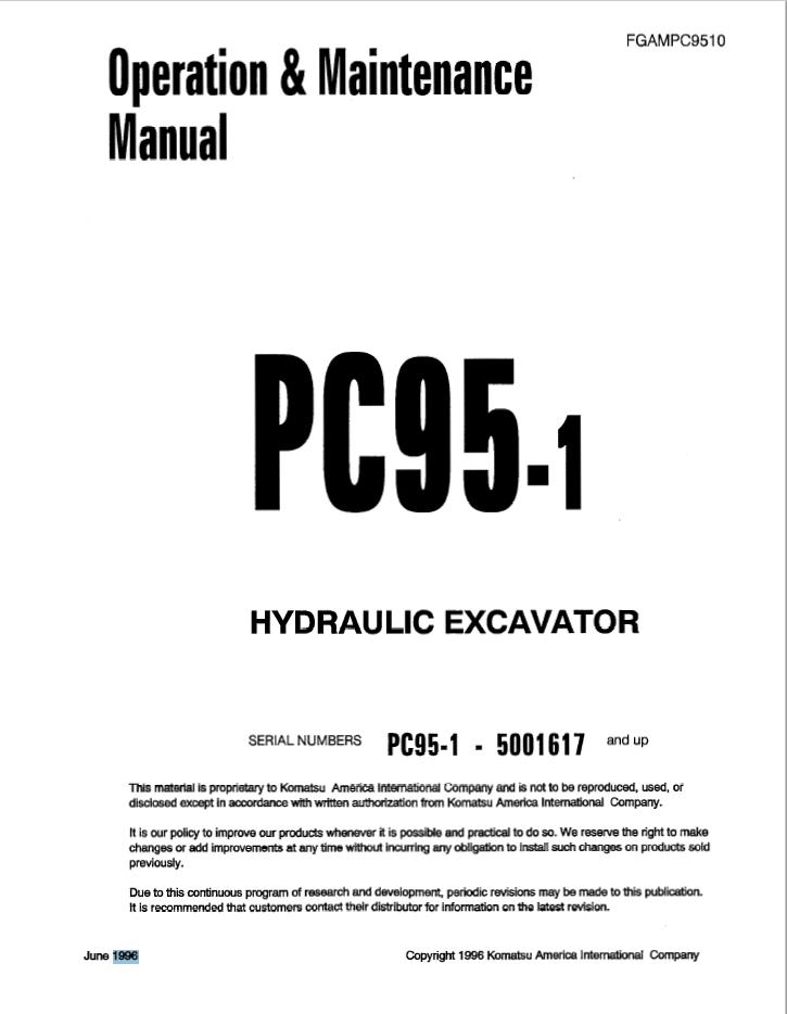 Komatsu Hydraulc Excavator PC95-1 Manual PDF Download