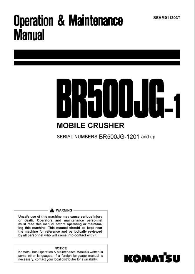 Komatsu BR500JG-1 Machine Model Manual Download