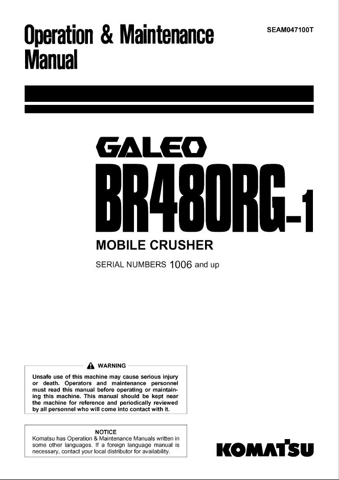 Komatsu Machine Model BR480RG-1 Manual Download