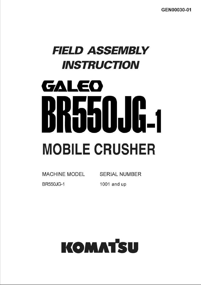 Komatsu BR550JG-1 Machine Crusher Field Assembly Manual