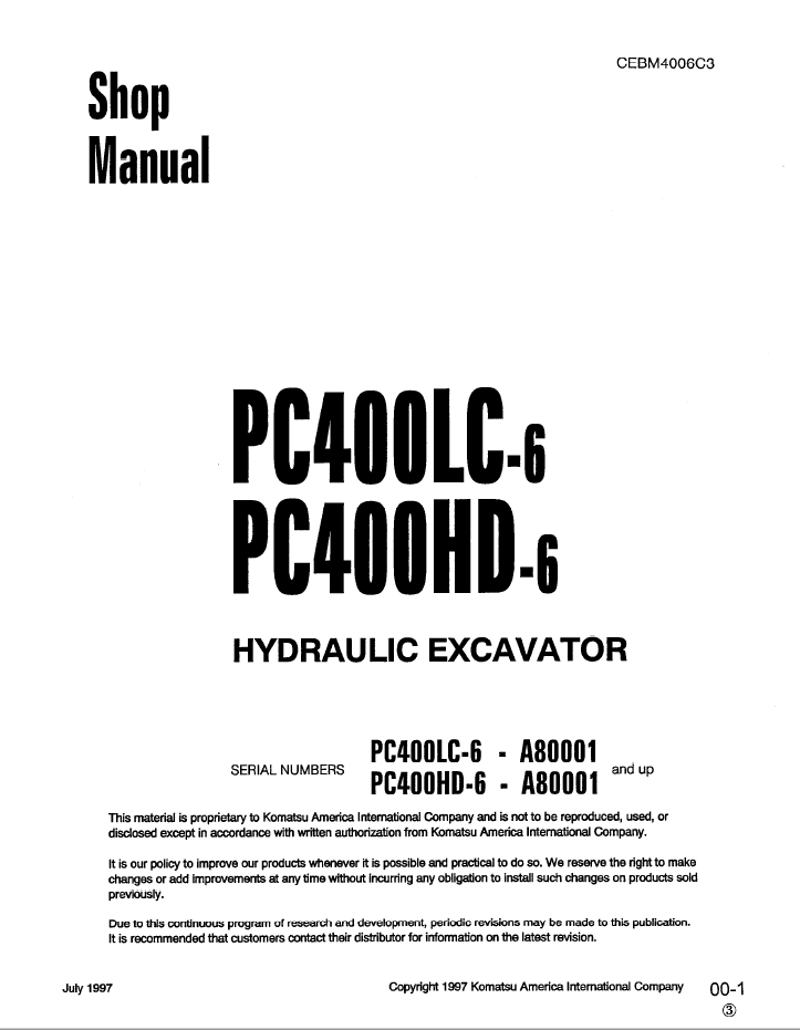Komatsu Excavator PC400LC-6, PC400HD-6 Shop Manual