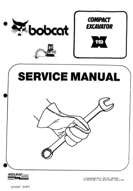 Bobcat X119 Compact Excavator PDF Service Manual