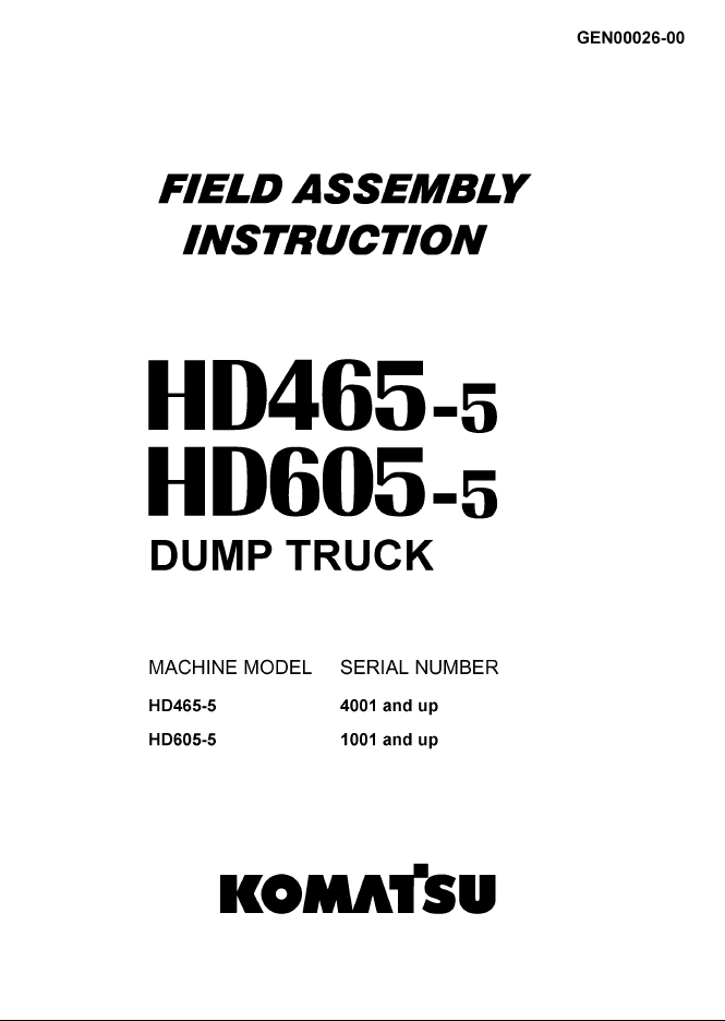 Komatsu Dump Truck HD465-5, HD605-5 Instruction PDF