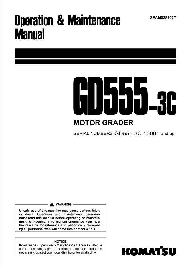 Komatsu GD555-3C Motor Grader Manual PDF
