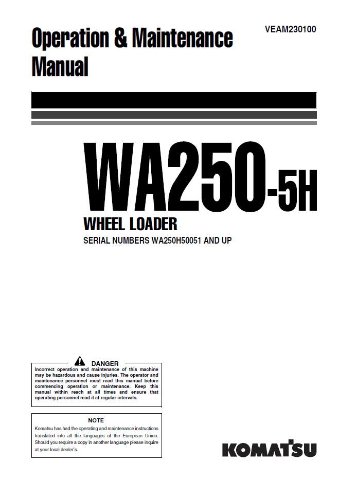 Komatsu WA250-5H Wheel Loader Manual Download